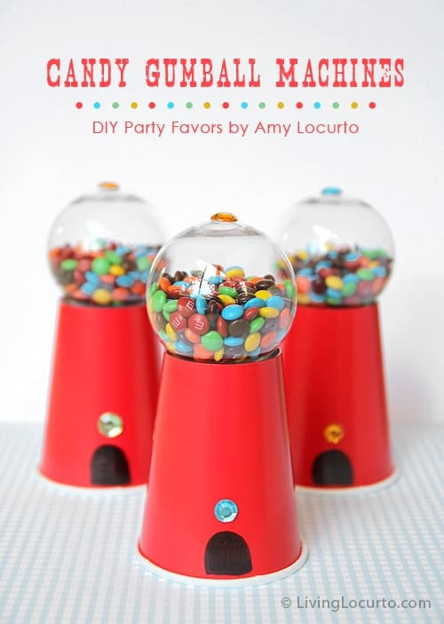 How to make a Candy Gumball Machine craft for gifts, party favors or a birthday party dessert table. Easy homemade candy food gift idea.