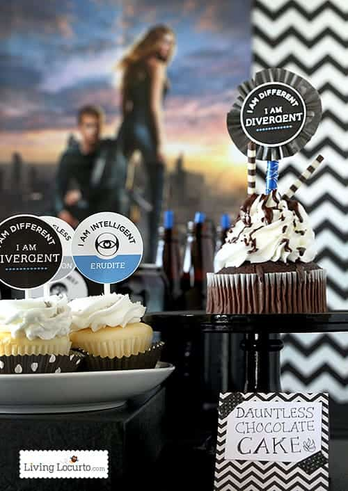 Divergent Party Ideas - Dauntless Chocolate Cake & Free Party Printables. LivingLocurto.com