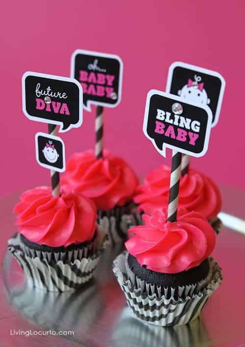 Baby Shower Free Party Printables by Amy at LivingLocurto.com | Baby Diva Cupcakes