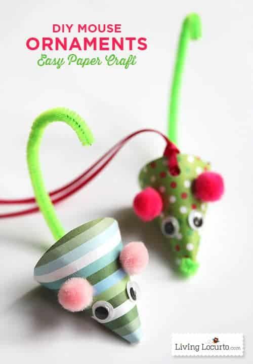 Cute DIY Mouse Ornaments. A fun DIY Christmas Paper Craft. LivingLocurto.com