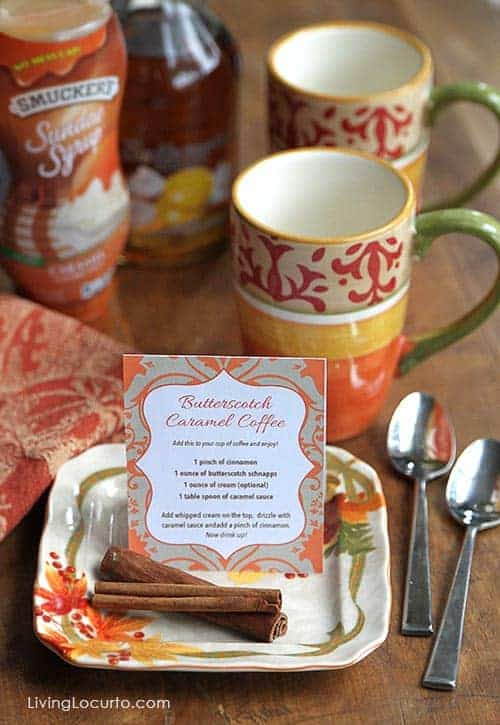 Butterscotch Caramel Coffee Recipe with a Coffee Bar Free Printable.