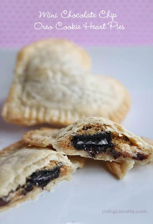 Chocolate Chip Oreo Cookie Mini Heart Pies via LivingLocurto.com #Valentine #Recipe #Pie