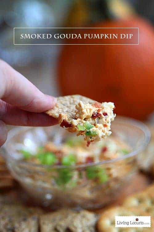 Smoked Gouda Pumpkin Dip. A creamy appetizer brimming with salty-sweet flavors. A fall party pleaser made in only 20 minutes! livinglocurto.com