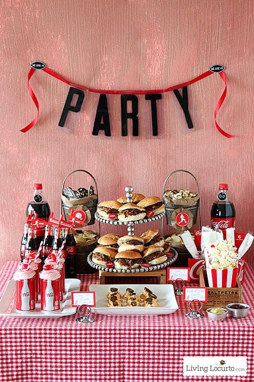 Cherry Coke Float Cupcakes with Free Football Party Printables. LivingLocurto.com