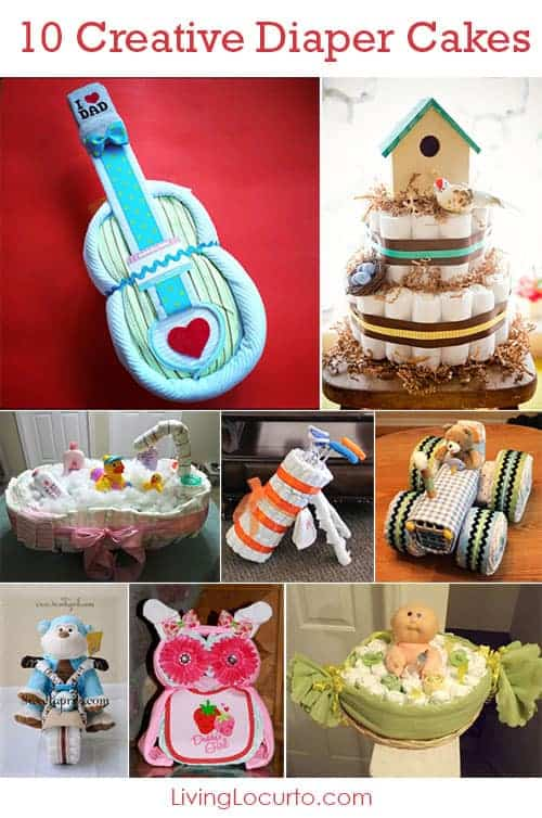 Creative Diaper Cakes! Cute DIY Baby Shower Party Ideas. Love these cute ideas for gifts and table centerpieces.