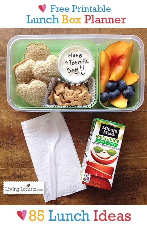 Free Printable School Lunch Box Planner with 85 Lunch Ideas. LivingLocurto.com