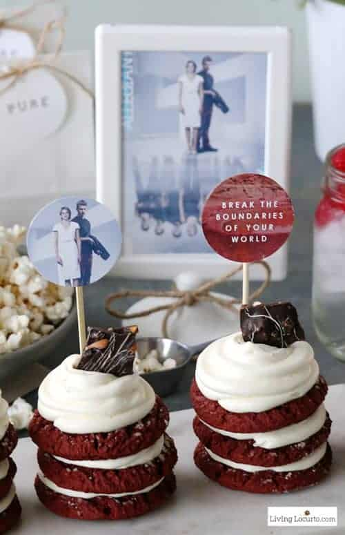 Fun Allegiant Party Ideas perfect for Divergent movie fans! Simple Red Velvet Stacked Cookie Cakes Recipe and Free Party Printables. Great ideas for a birthday or movie watching party. LivingLocurto.com