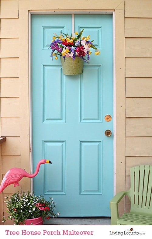 Tree House Porch Makeover. How to Paint an Exterior Door in a few simple steps! LivingLocurto.com
