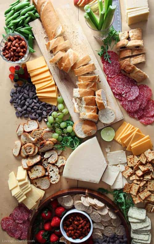 Epic Charcuterie Board - Party Recipe Idea - Bread Cheese Fruit