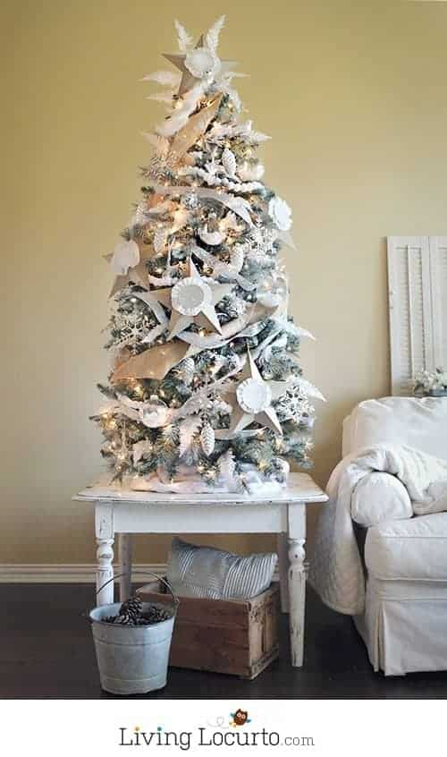 How to paint an artificial Christmas tree white. A painted white Christmas tree and homemade ornaments are easy holiday home decor crafts!