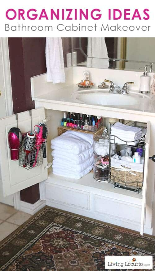 Quick Organizing Ideas for your Bathroom! Easy Cabinet Bathroom Organization Makeover with Before and After photos. LivingLocurto.com