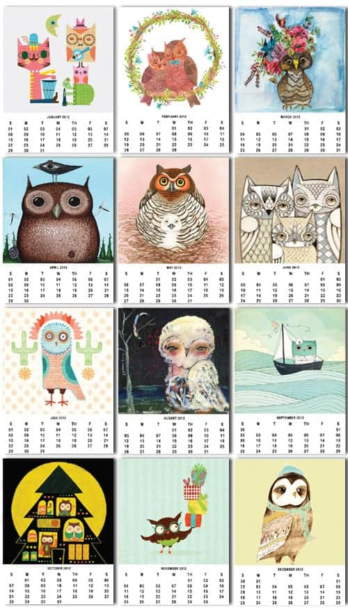 2012 Owl Calendar Artwork - Free Printable