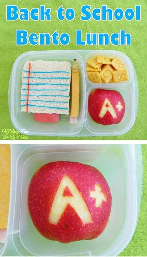 A fun food School Bento Lunch is the cutest idea ever! Kids will smile when they open their lunch box to find this adorable edible paper, pencil and eraser.