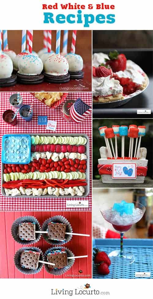 Red, White and Blue 4th of July Recipes. Fun desserts, appetizers and free party printables at LivingLocurto.com