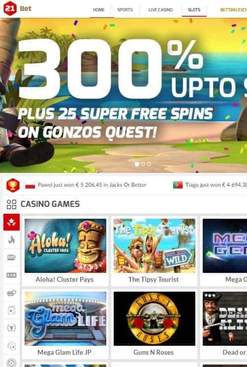 21Bet Casino Online
