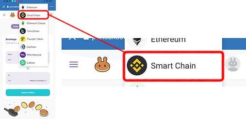 Selecione Smartchain na Trust Wallet