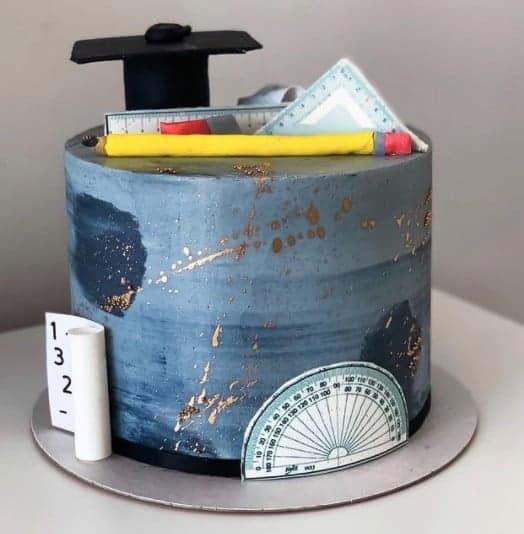 Geometry Blue Cake, graduation cake design