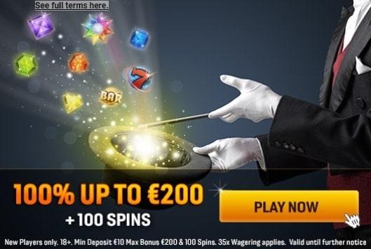 100 bonus spins and 100% free on deposit
