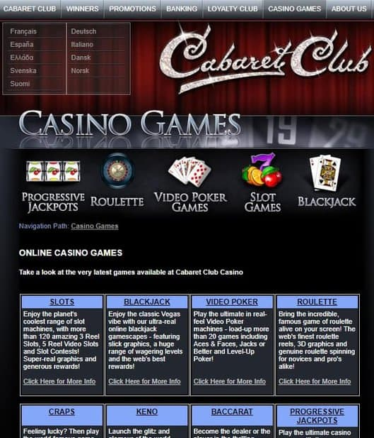 Cabaret Club Casino 50 free spins bonus