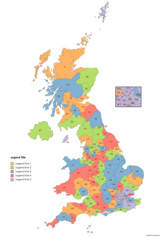 randomly colored UK postcode map