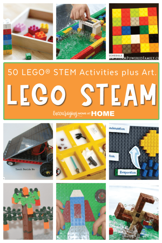 Text Overlay on image states 50 LEGO STEM Activities plus Art for LEGO STEAM. Collage of several LEGO STEM projects.