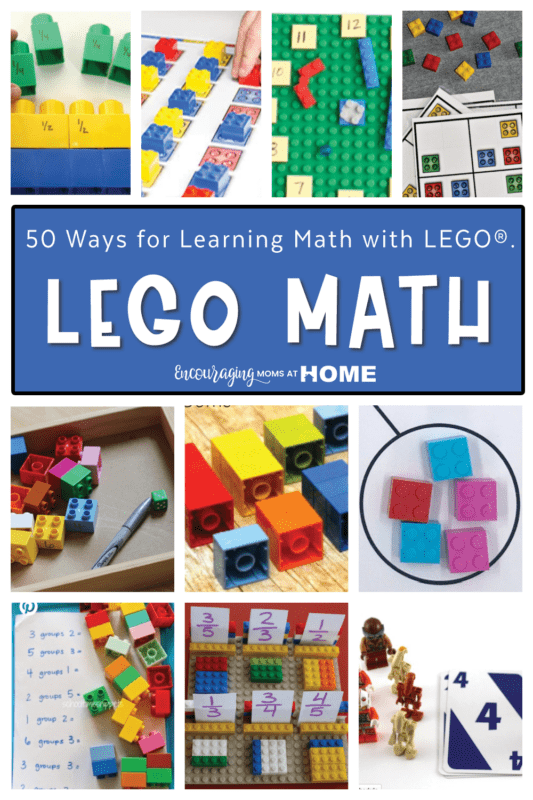 Small images of ways of learning math with lego in a collage. Text overlay says Lego Math.