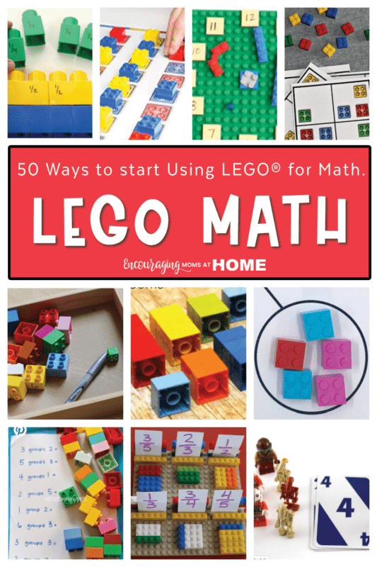 Various examples of Using Legos for Math. Small pictures in a collage. Text overlay says Lego Math.