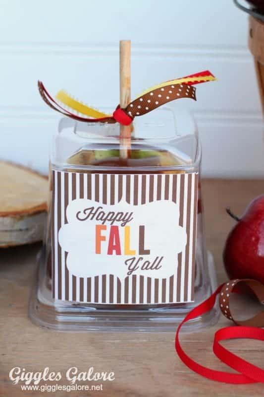 Happy Fall Y'all Free Printable Caramel Apples - Fall Party Idea