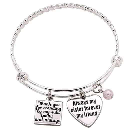 sister maid of honor silver bangle bracelet