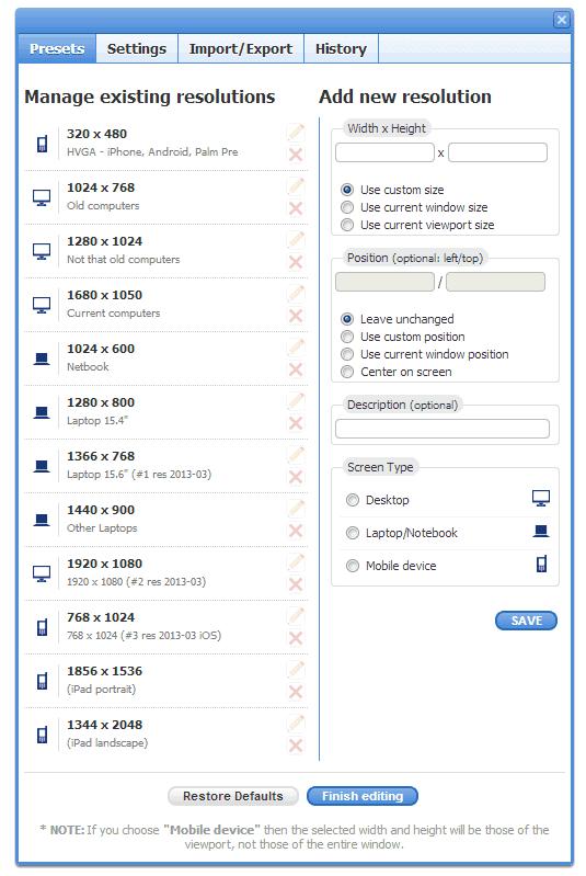 Chrome Web Store - Window Resizer