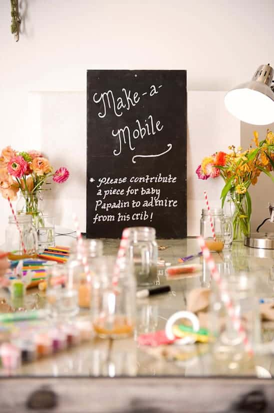 Make a Mobile - 8 Fun Baby Shower Crafts and Party Activities. Alternatives to baby shower games.