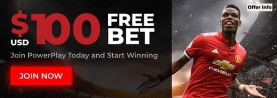 PowerPlay $100 free bet on Sportsbook
