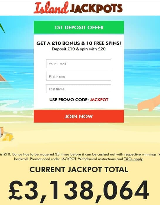 Island Jackpots Casino free spins no deposit bonus
