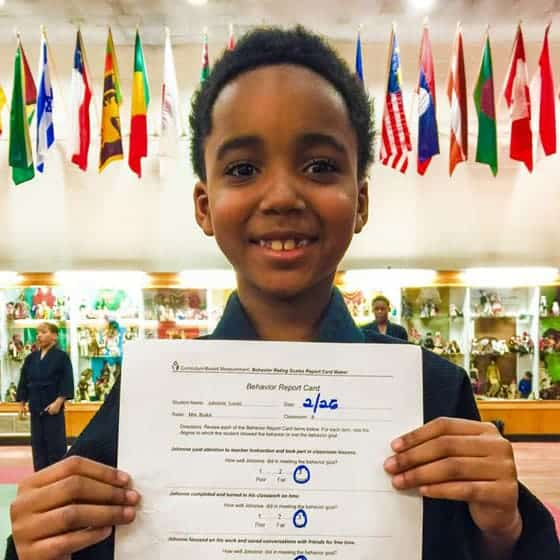 Johanne received a perfect score on his behavioral report card at school!