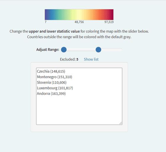 The new range slider for the COVID-19 statistics map.