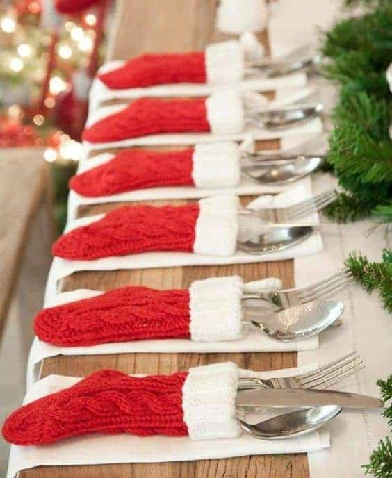 Christmas Stockings Flatware holder - The Best Christmas Table Setting Decorations | Holiday Home Decor