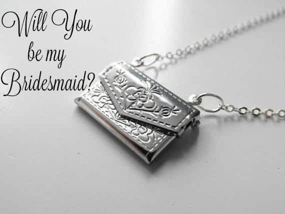 silver envelope locket necklace will you be my bridesmaid caption