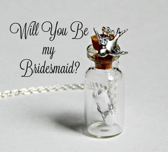 Tiny bottle necklace with scroll inside and bird charm
