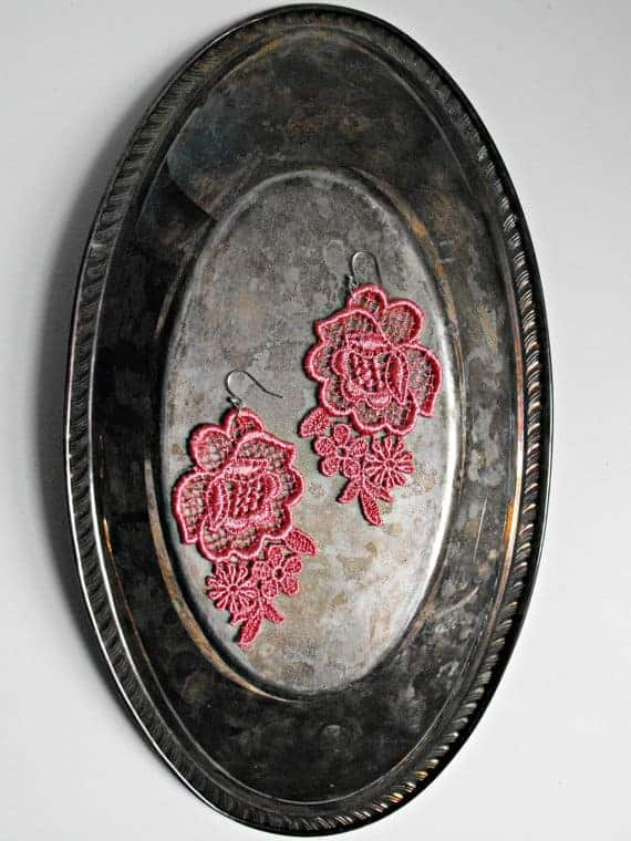 Pink Lace Earrings on Metal Tray