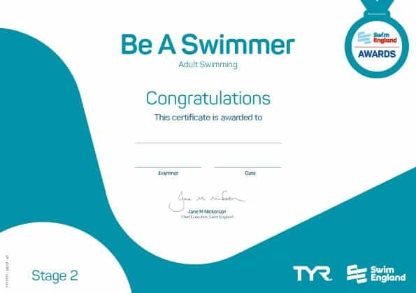Be a swimmer adult swimming lessons award