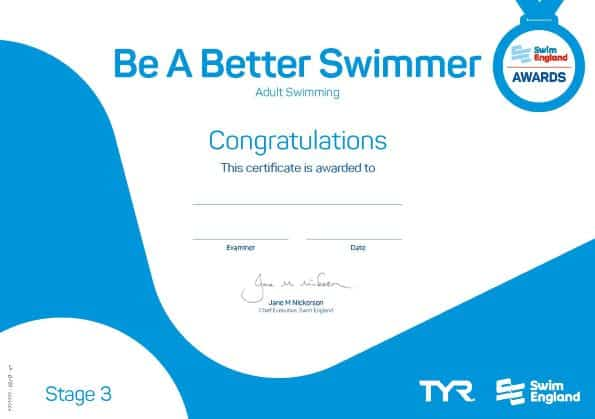 Be a better swimmer adult swimming lesson award