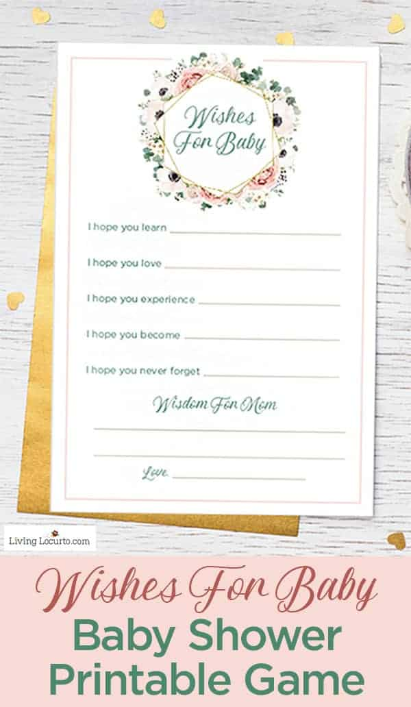 Wishes for Baby - Printable Baby Shower Game With floral design