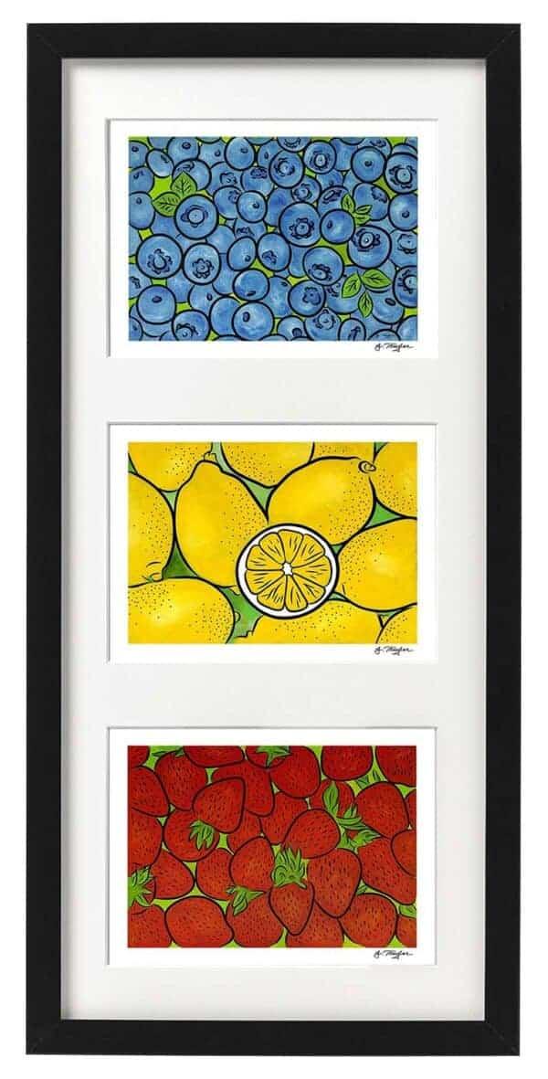 Framed set of three Fruits 1