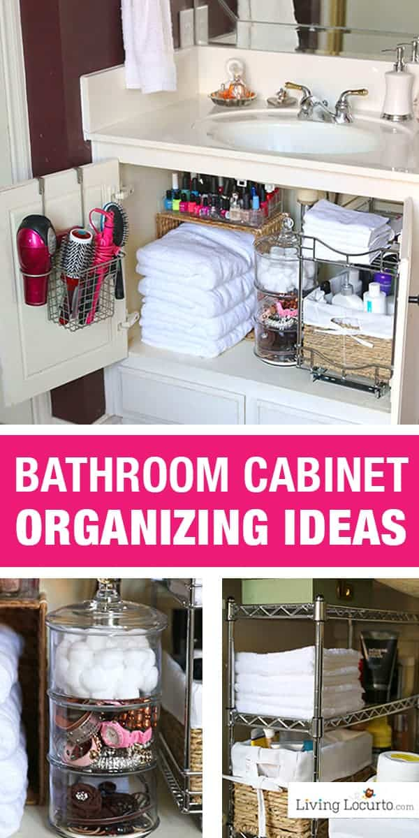 Quick Organizing Ideas for your Bathroom! Easy Cabinet Bathroom Organization Makeover with Before and After photos. DIY Home Decor. Organize your bathroom in a day! LivingLocurto.com #organizing #bathroom