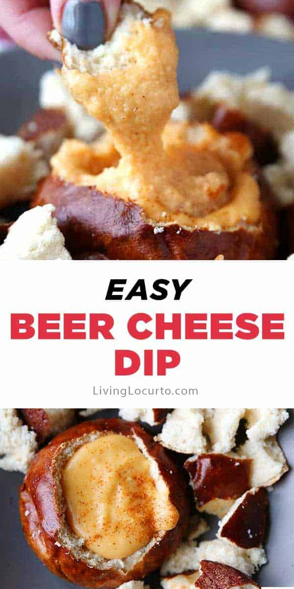 Hot Beer Cheese Dip recipe served in pretzelbread bowls. A crowd pleasing appetizer for any party! #dip #cheese