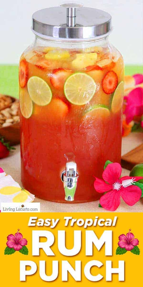 Tropical rum punch is an easy cocktail recipe for a luau party