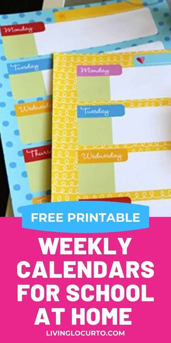 Free Printable Weekly Calendars for Kids and Home School