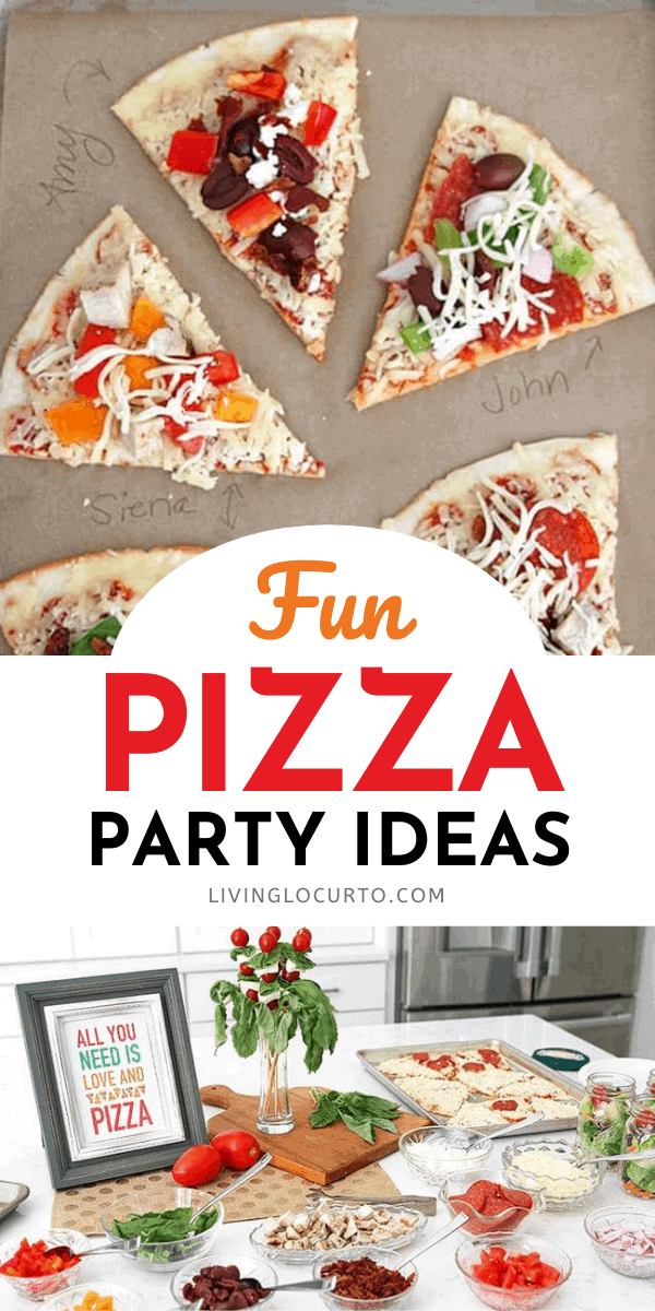 Pizza party ideas for a family dinner or celebration with cute free printable table decorations.