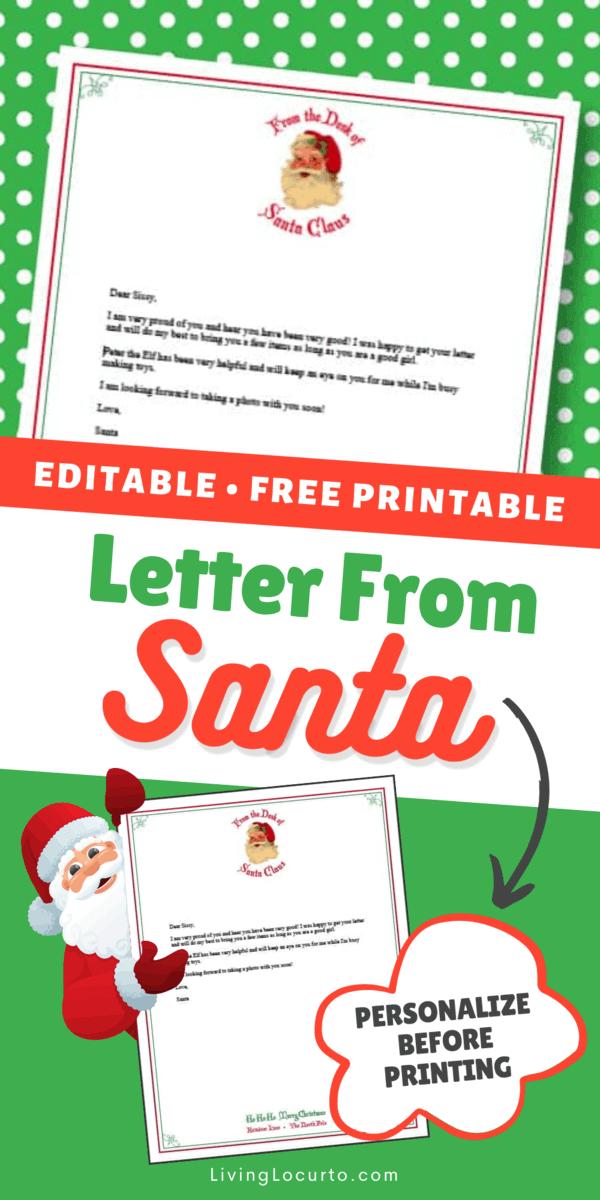 Letter from Santa - Free printable Santa letter template