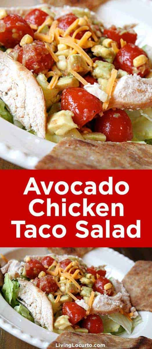 Avocado Chicken Taco Salad Recipe. This quick and easy Avocado Chicken Taco Salad is a delicious and HEALTHY recipe! A perfect chopped salad idea for lunch or dinner. Great idea when you need dinner fast. #salad